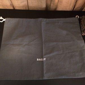 Bally Gray Cotton Dust Bag-White Logo & Drawstring